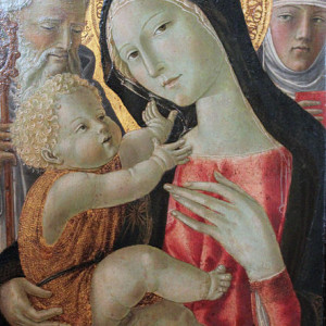 Neroccio-di-Bartolomeo-de-Landi-The-Virgin-and-Child-St.-Benedict-and-Saint.-Catherine-of-Siena-1490-
