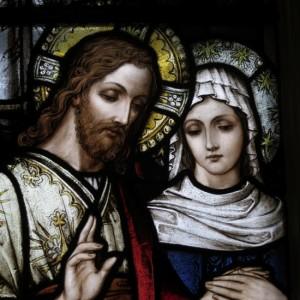 Saint_Raphael_Catholic_Church_(Springfield,_Ohio)_-_stained_glass,_Wedding_at_Cana_-_detail