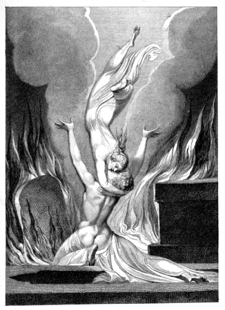 "The Reunion of Soul and Body. From Robert Blair's "" Grave,"" illustrated by William Blake (1896)."
