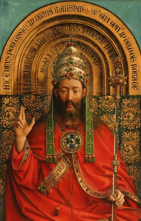 Jan van Eyck, The Almighty (detail from the Ghent altarpiece) (1432)