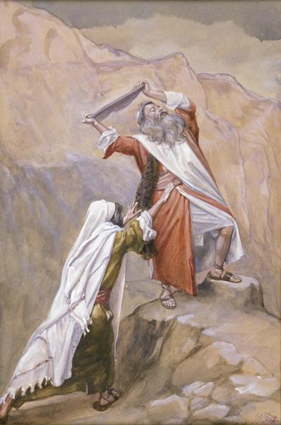 James Tissot, Moses Destroys the Tables of the Ten Commandments (c. 1900)