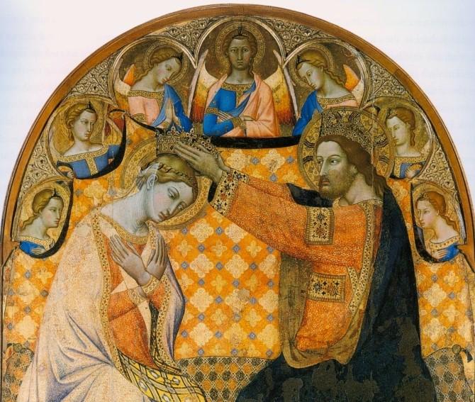 Jacopo di Mino del Pellicciaio, Coronation of the Virgin (detail), (1350)