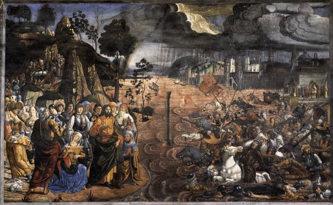 Cosimo Rosselli, Crossing of the Red Sea, Sistine Chapel (1482)