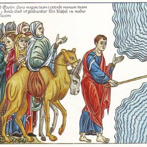 Moses Parting the Red Sea, from the Hortus Deliciarum (1180)