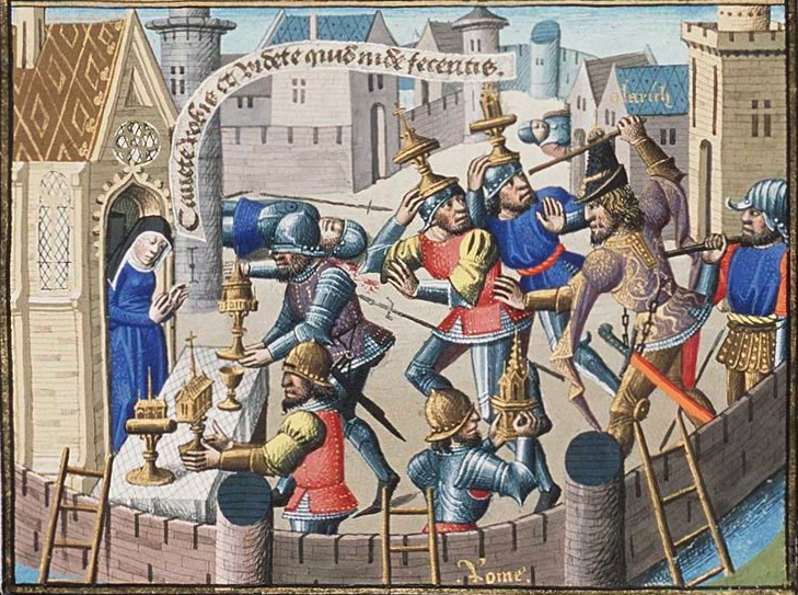 Maïtre François, Sack of Rome by Alaric - Sacred Vessels are Brought to a Church for Safety (1475). The illustration is for Volume 1 of St. Augustine's City of God.