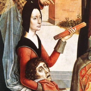 Dieric Bouts the Elder, Ordeal by Fire (detail), 1460. In this scene, a woman proves her innocence by holding a red-hot iron without suffering injury.