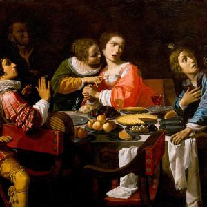Giovanni Martinelli, Death Comes to the Banquet Table (Memento Mori) (1635)