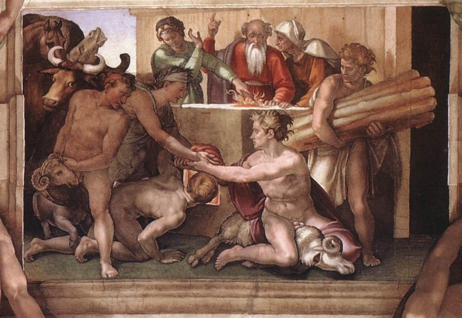 Michelangelo, Sacrifice of Noah, Sistine Chapel ceiling (1512)