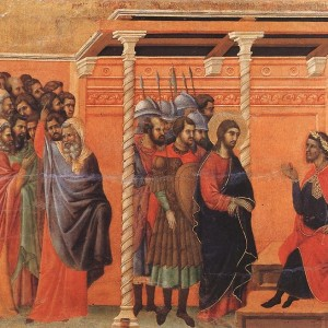 Duccio, Pilate's First Interrogation of Christ (1311)