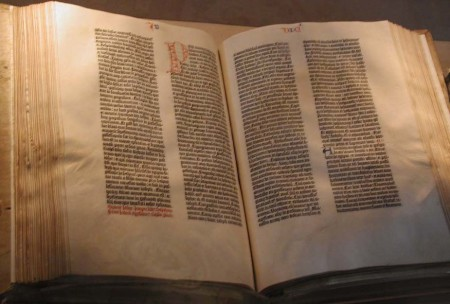 The Gutenberg Bible (15th c.). Photo by Mark Pellegrini.