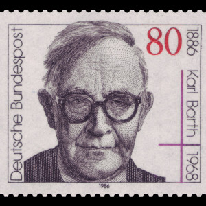 German postage stamp honoring Karl Barth's 100th birthday