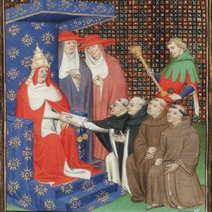 Vincent of Beauvais, Pope Innocent IV sends Dominicans and Franciscans out to the Tartars. From Le Miroir Historial (Vol. IV).