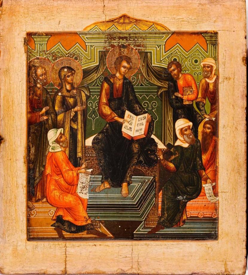Jesus Among the Doctors, Russian Icon (c. 1800)