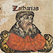 Zacharias, woodcut from the Nuremberg Chronicles (1493)