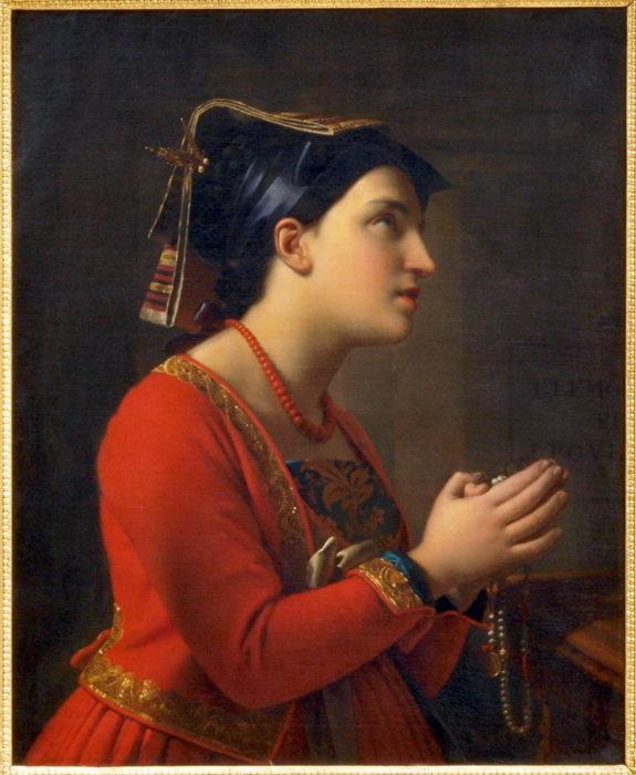 Moritz Calisch, Young Italian Woman Praying (1850)