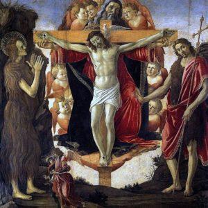 Sandro Botticelli, Holy Trinity with Mary Magdalene, John the Baptist and Tobias and the Angel (1493)