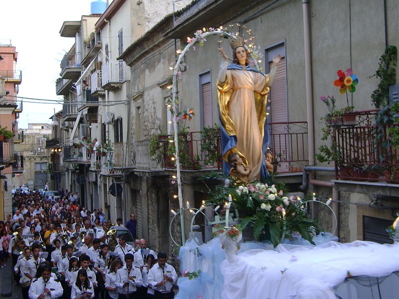 A Marian procession in San Cataldo, Sicily, for the Feast of the Assumption.