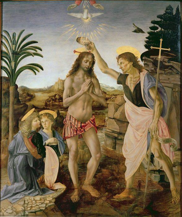 Andrea del Verrocchio / Leonardo da Vinci, The Baptism of Christ (1475)